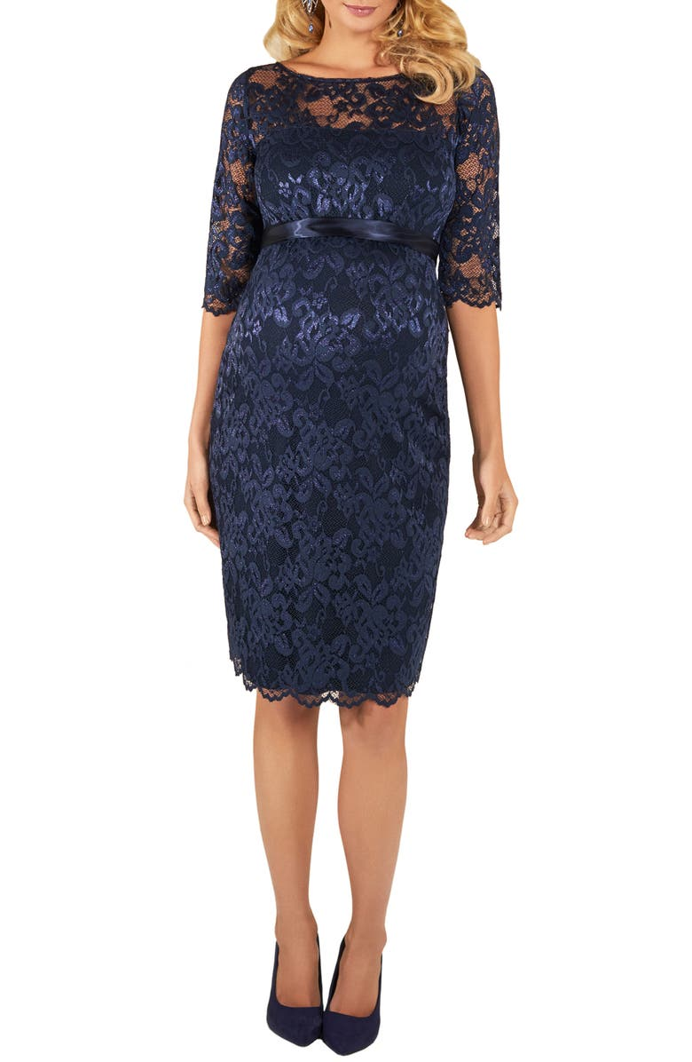 TIFFANY ROSE Amelia Lace Maternity Cocktail Dress, Main, color, NAVY