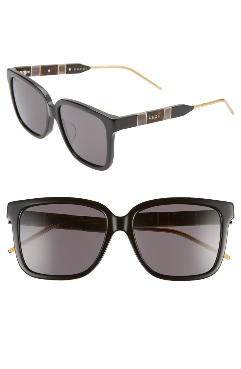 GUCCI 56mm Square Sunglasses, Main, color, 001