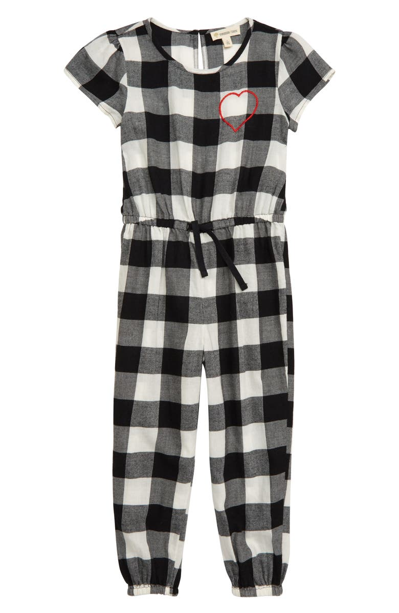 TUCKER + TATE Embroidered Plaid Romper, Main, color, 900