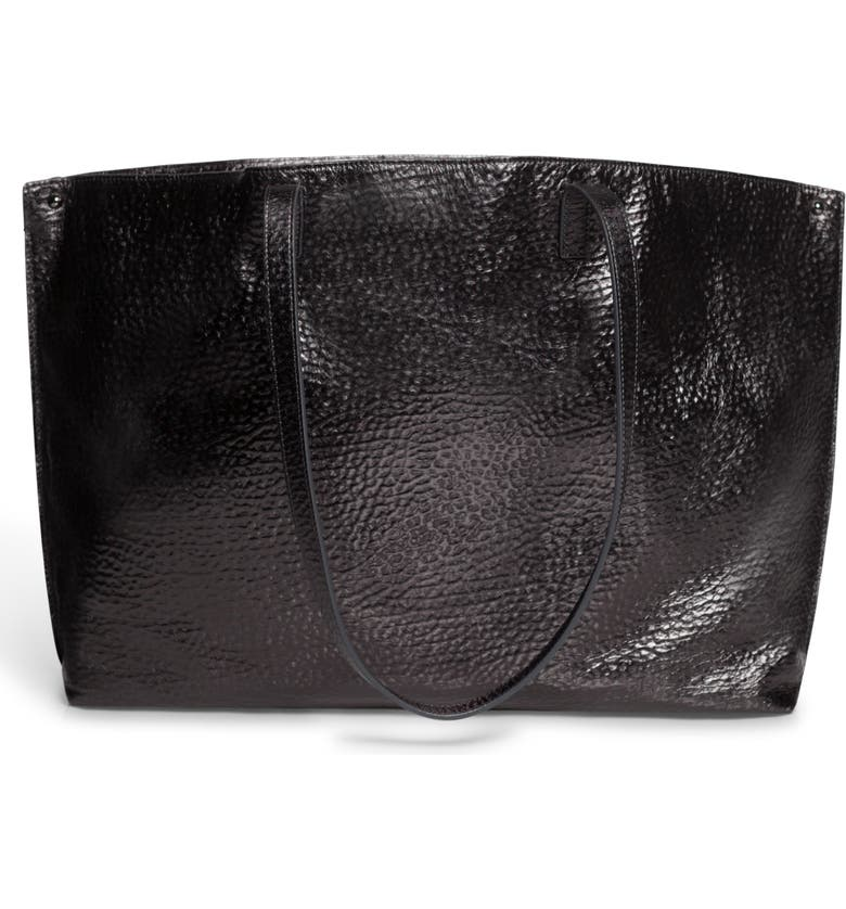 AKRIS AI Hammered Calfskin Leather Tote, Main, color, 010