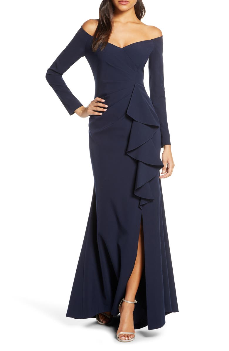 VINCE CAMUTO Off the Shoulder Long Sleeve Evening Gown, Main, color, 410