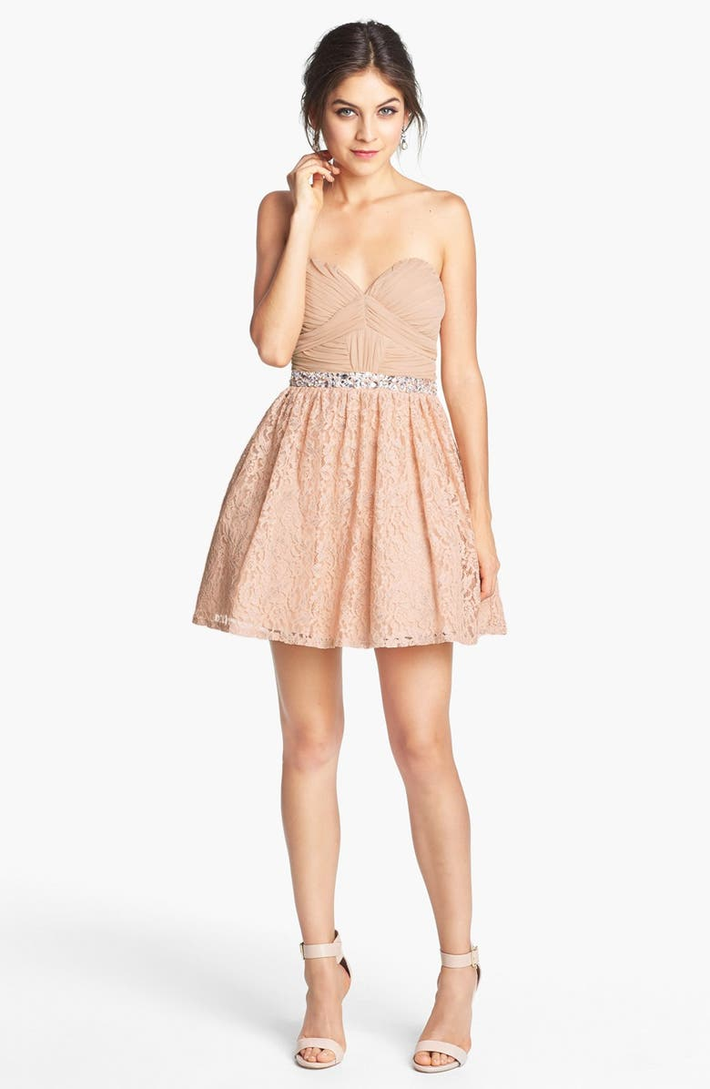 WAY-IN Embellished Lace Fit & Flare Dress, Main, color, PEACH/ SILVER