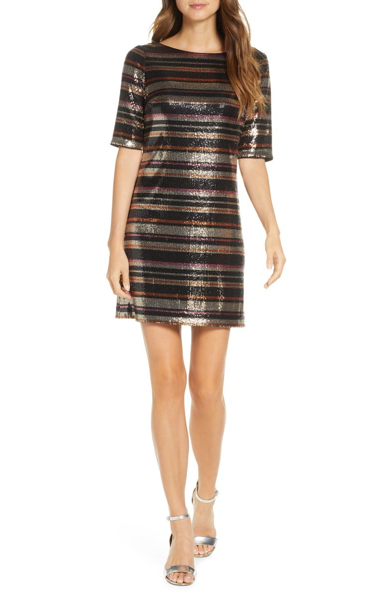 1901 Sequin Multi Stripe Shift Dress, Main, color, 001