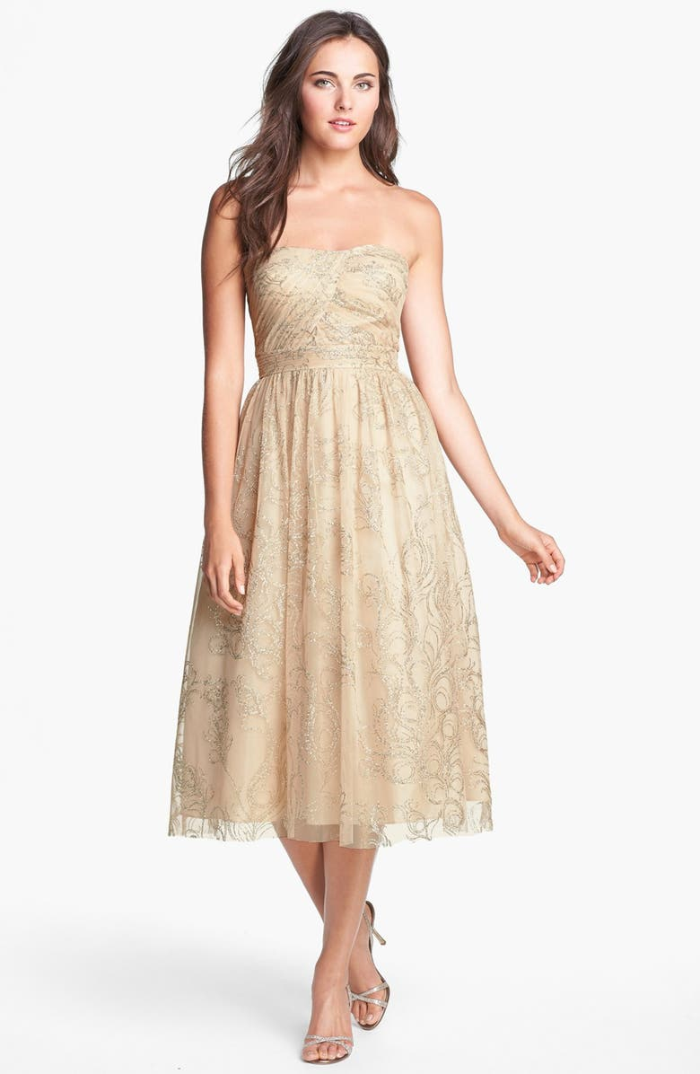 HAILEY BY ADRIANNA PAPELL Glitter Print Tulle Fit & Flare Dress, Main, color, BLUSH/ GOLD