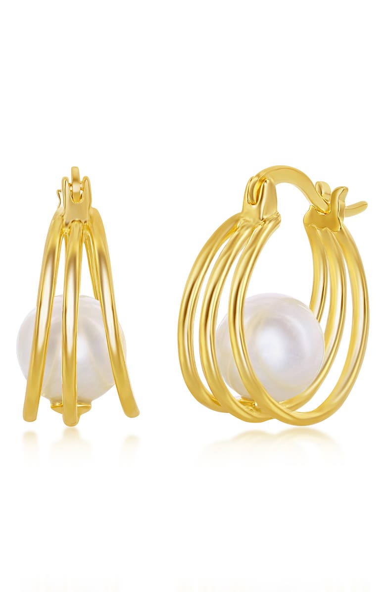 SIMONA Sterling Silver 8mm FWP Triple Hoop Earrings - Gold Plated, Main, color, GOLD