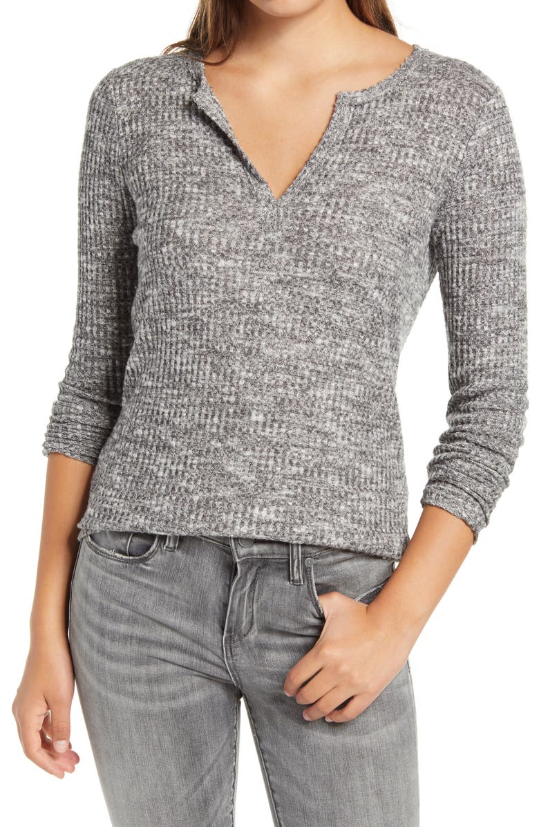 SOCIALITE Long Sleeve Thermal Henley Top, Main, color, BLACK/ OFF WHITE