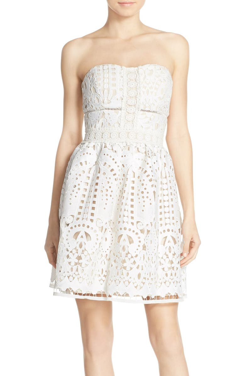 ADELYN RAE Strapless Lace Fit & Flare Dress, Main, color, White