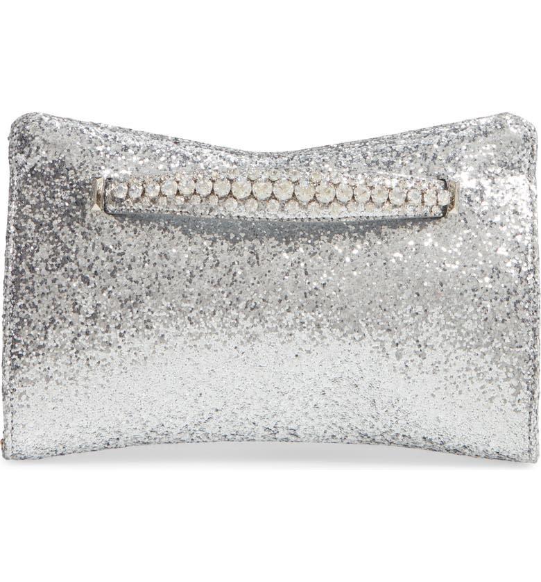 JIMMY CHOO Galactica Glitter Clutch with Crystal Bracelet Handle, Main, color, 040
