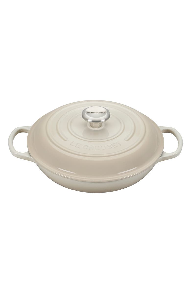 LE CREUSET Signature 2.25-Quart Enameled Cast Iron Braiser, Main, color, MERINGUE