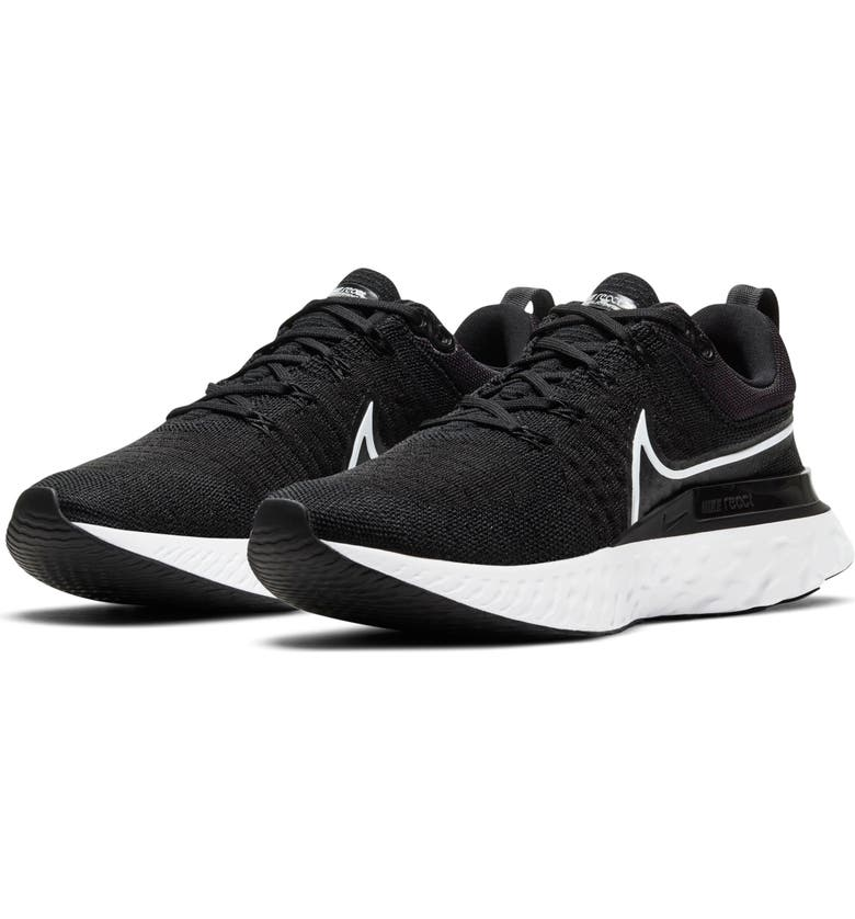 NIKE React Infinity Run Flyknit 2 Running Shoe, Main, color, BLACK/ IRON GREY/ WHITE