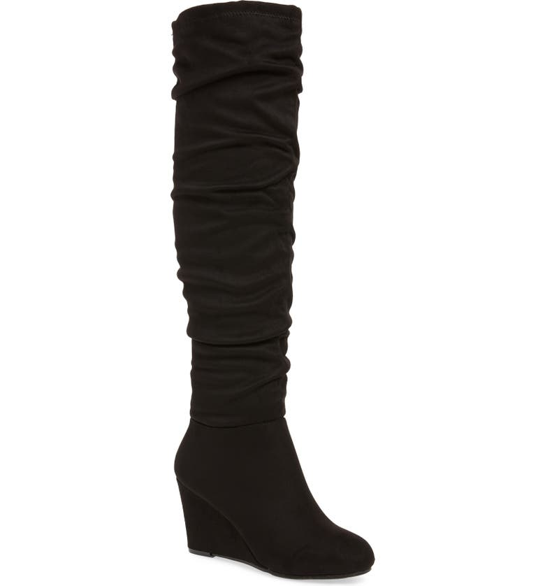 CHINESE LAUNDRY Uma Over the Knee Boot, Main, color, BLACK SUEDE
