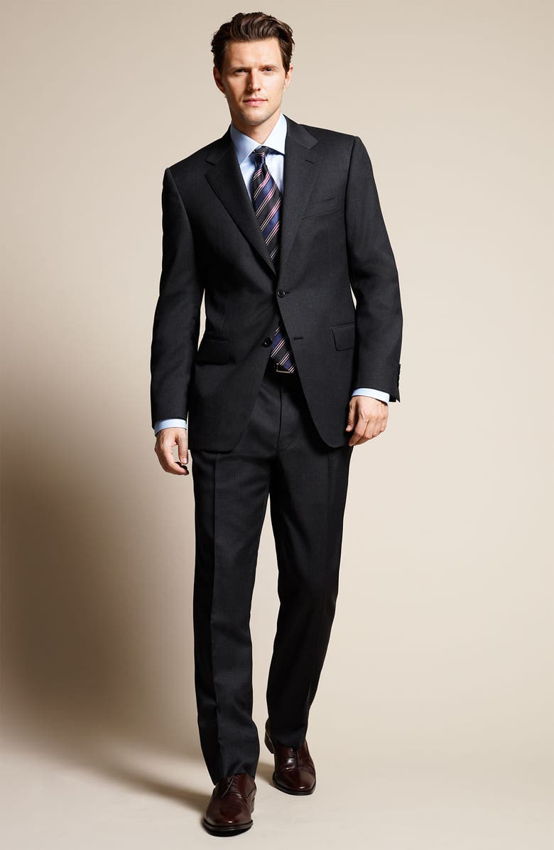 CANALI Navy Wool Suit, Main, color, 960