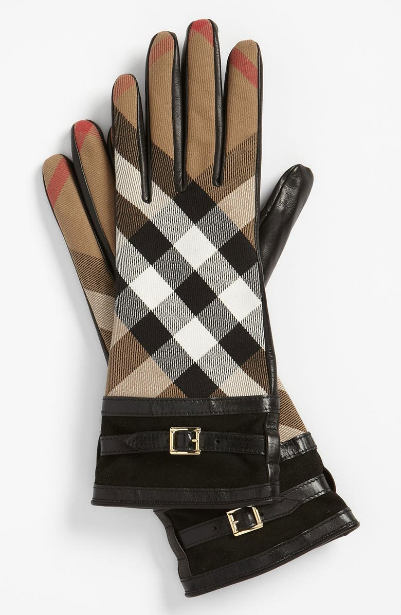 BURBERRY 'House Check' Gloves, Main, color, Black