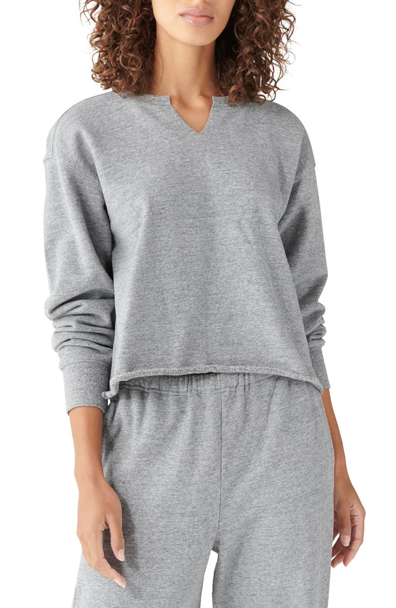 LUCKY BRAND Sueded Cotton Terry Crop Sweatshirt, Main, color, HEATHER GREY