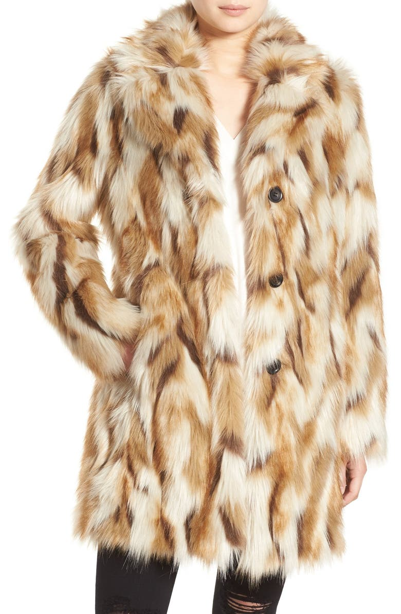 7 FOR ALL MANKIND Faux Fur Coat, Main, color, TAUPE MULTI