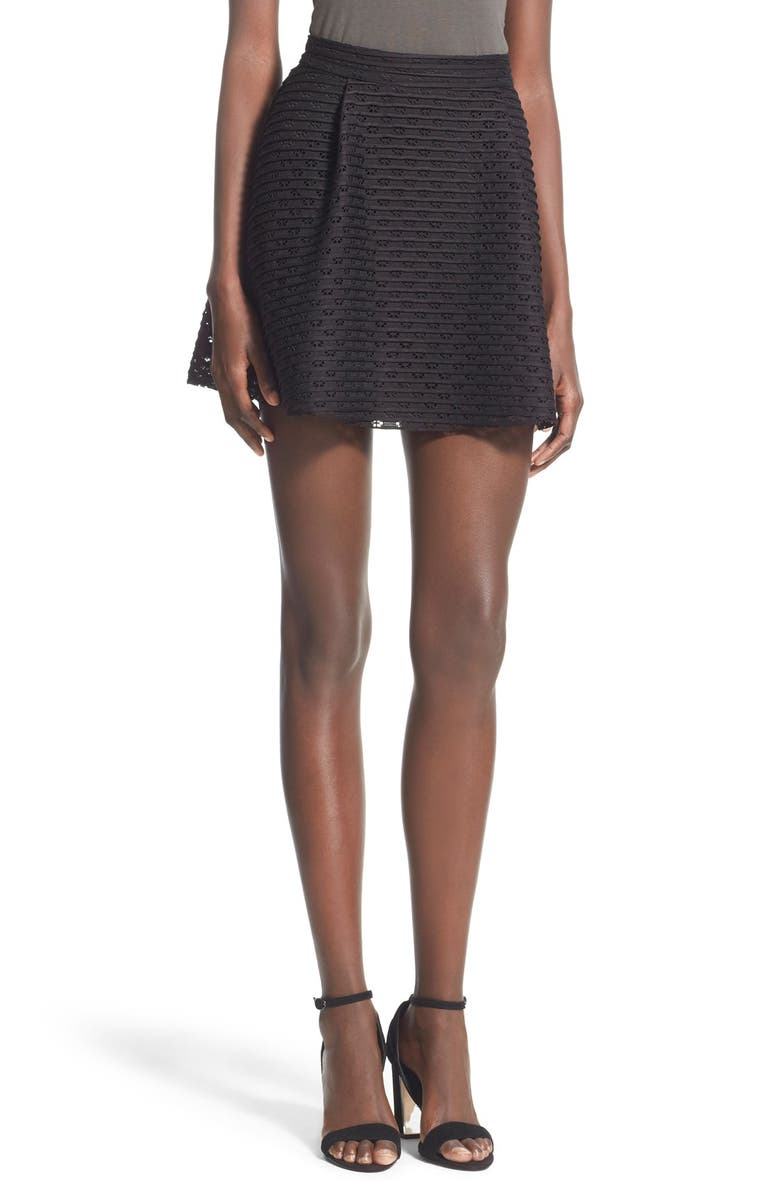 ALL IN FAVOR Pleated Fit & Flare Miniskirt, Main, color, BLACK