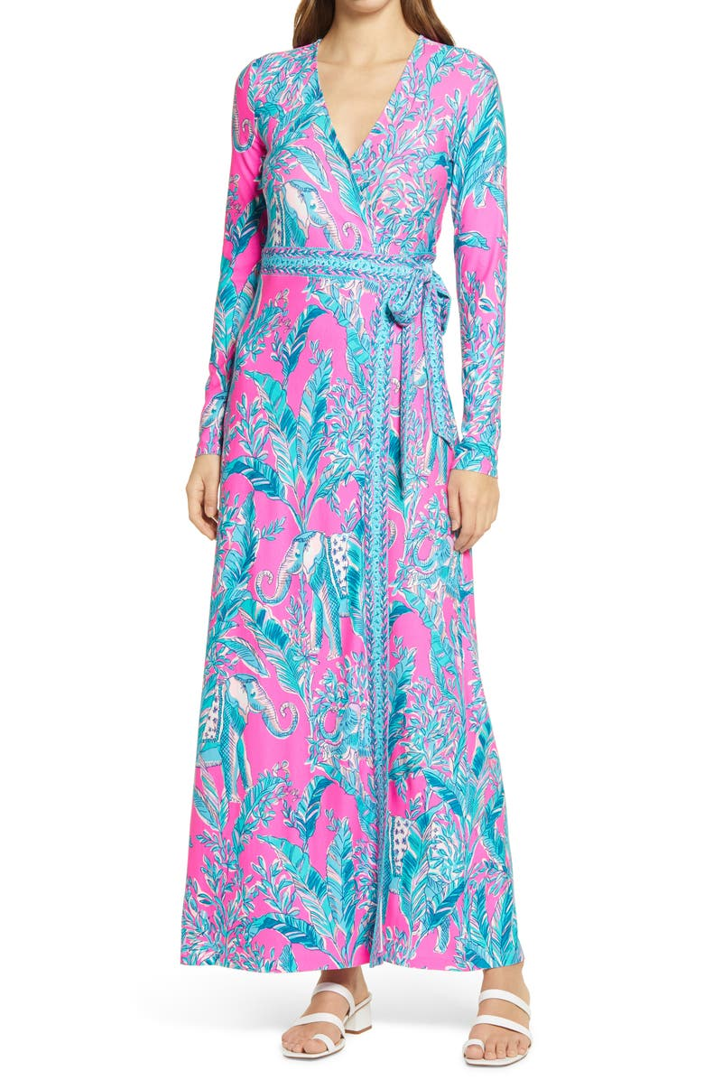 LILLY PULITZER<SUP>®</SUP> Marseilles Long Sleeve Wrap Dress, Main, color, Purple