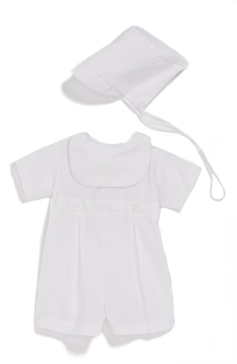 LITTLE THINGS MEAN A LOT Bib Front Christening Romper and Bonnet Set, Main, color, White