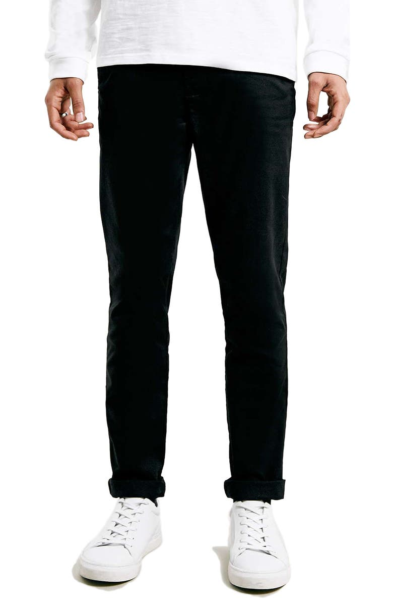 TOPMAN Stretch Skinny Fit Chinos, Main, color, BLACK