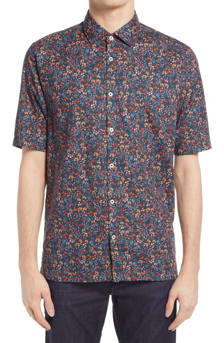 GOOD MAN BRAND On Point Slim Fit Short Sleeve Button-Up Shirt, Main, color, NAVY WILD FLOWER FLORAL