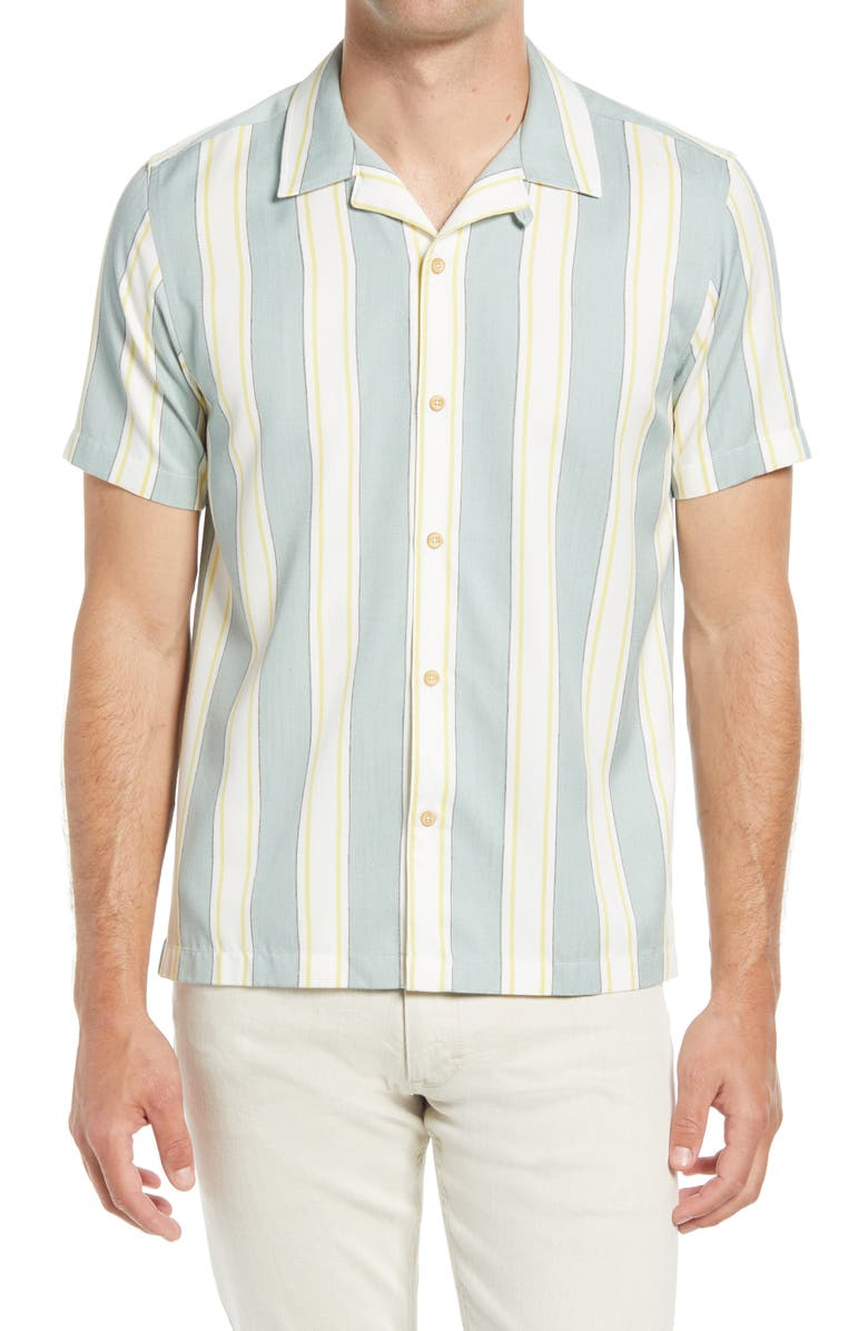 TED BAKER LONDON Zoomin Stripe Camp Shirt, Main, color, LIGHT BLUE