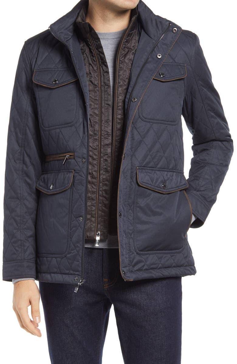 JOHNSTON & MURPHY Water Resistant Quilted Jacket, Main, color, NAVY