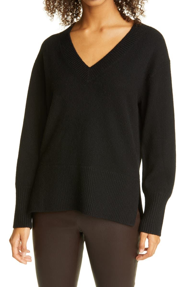 VINCE Ribbed V-Neck Cashmere Tunic Sweater, Main, color, 001