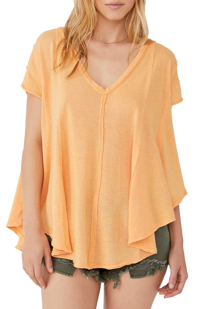 FREE PEOPLE Sammie V-Neck Short Sleeve T-Shirt, Main, color, CANTELOUPE