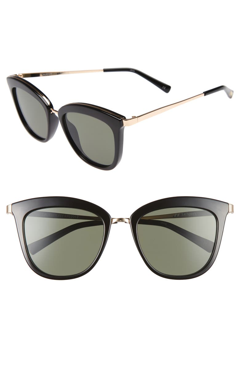 LE SPECS Caliente 53mm Cat Eye Sunglasses, Main, color, BLACK/ GOLD