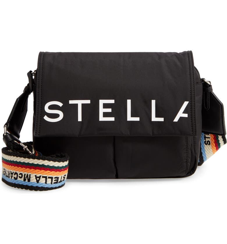 STELLA MCCARTNEY Medium Padded Eco Nylon Shoulder Bag, Main, color, 001