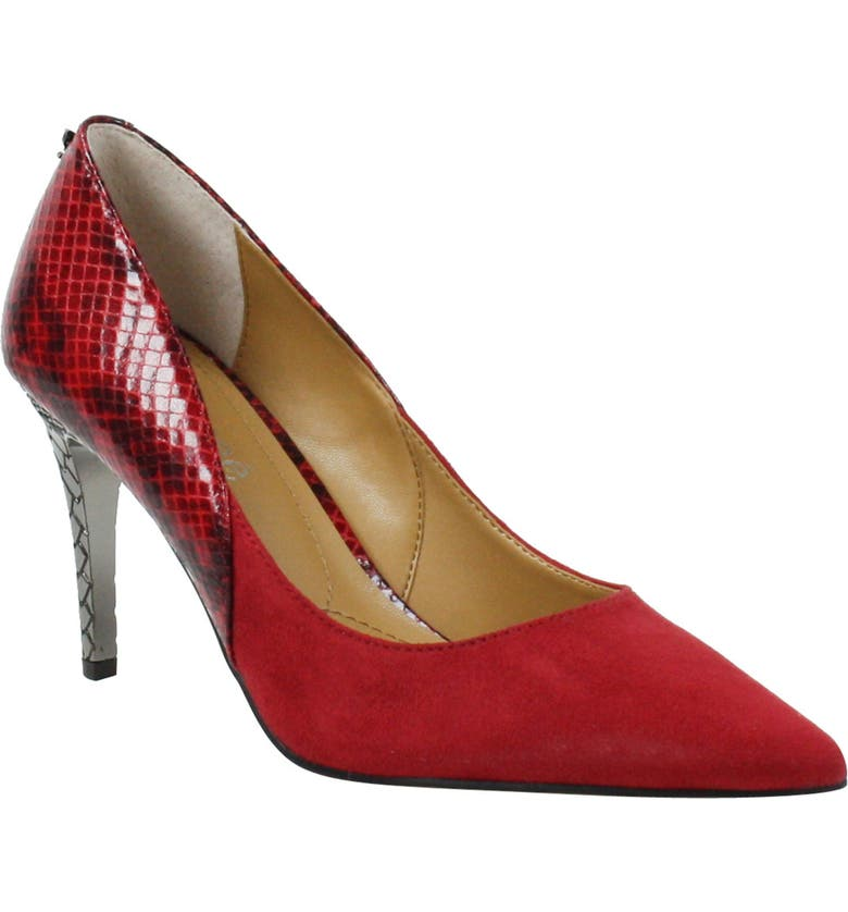 J. RENEÉ Zayd Pointed Toe Pump, Main, color, RED SUEDE/ SNAKE PRINT