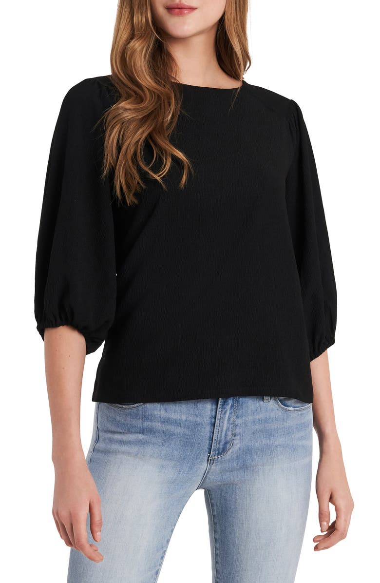 VINCE CAMUTO Puff Sleeve Top, Main, color, RICH BLACK
