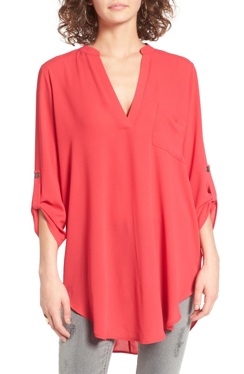 ALL IN FAVOR Perfect Roll Tab Sleeve Tunic, Main, color, VIRTUAL PINK