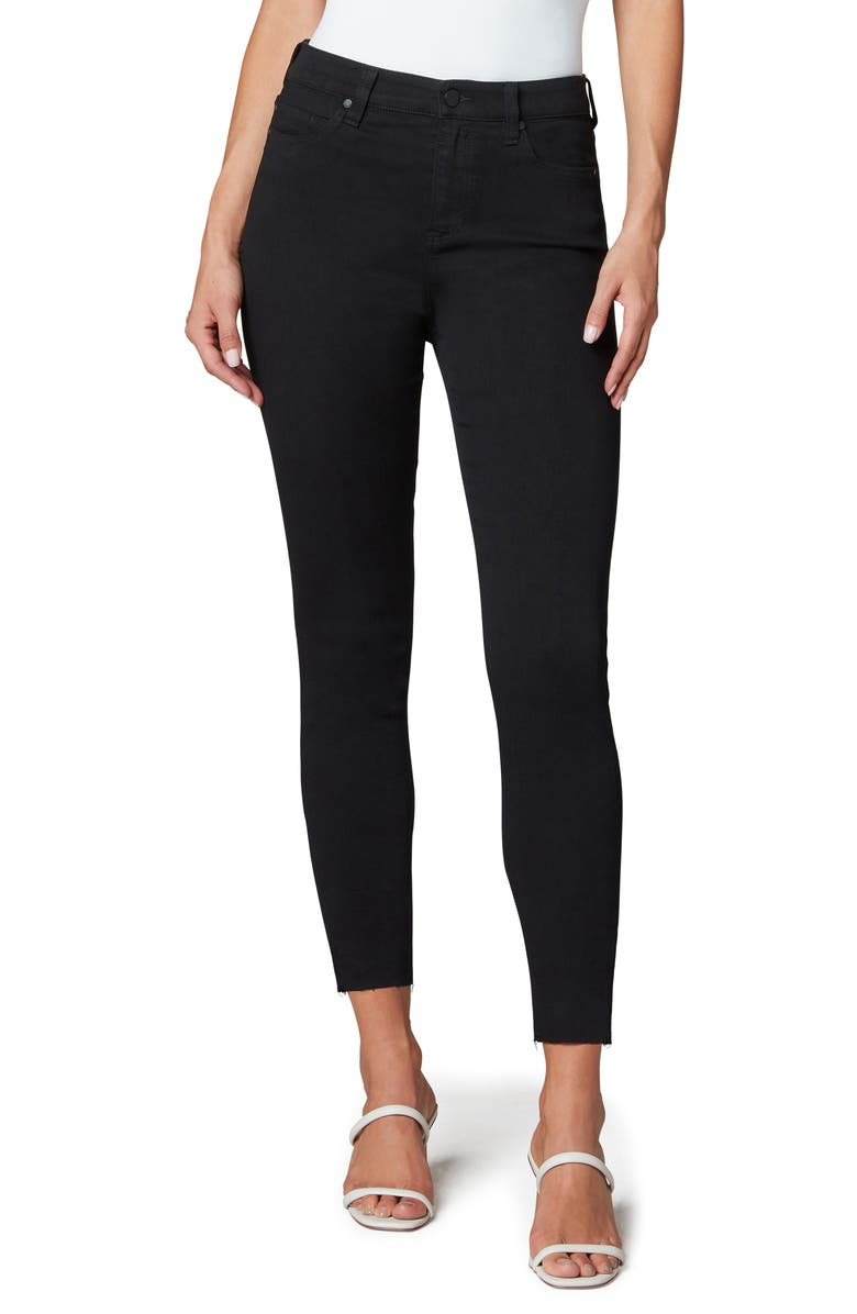 LIVERPOOL LOS ANGELES Abby Cut Hem High Waist Ankle Skinny Jeans, Main, color, HANNAH BLACK RINSE