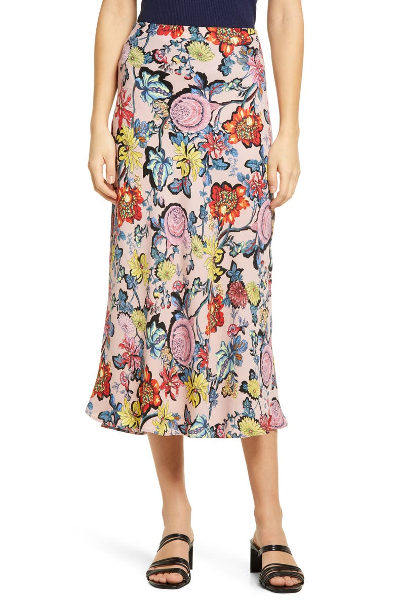 HALOGEN<SUP>®</SUP> Bias Cut A-Line Skirt, Main, color, PINK PUFF CHINTZ FLORAL
