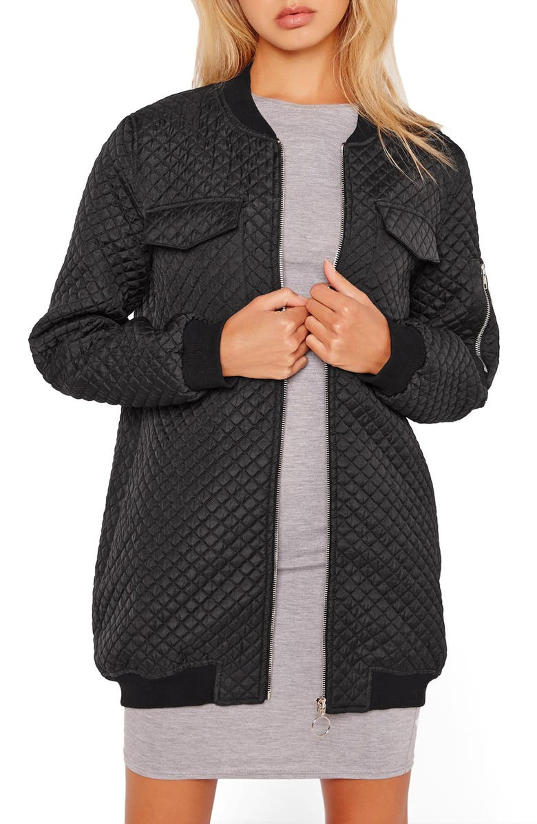 MISSGUIDED Quilted Longline Bomber Jacket, Main, color, 001