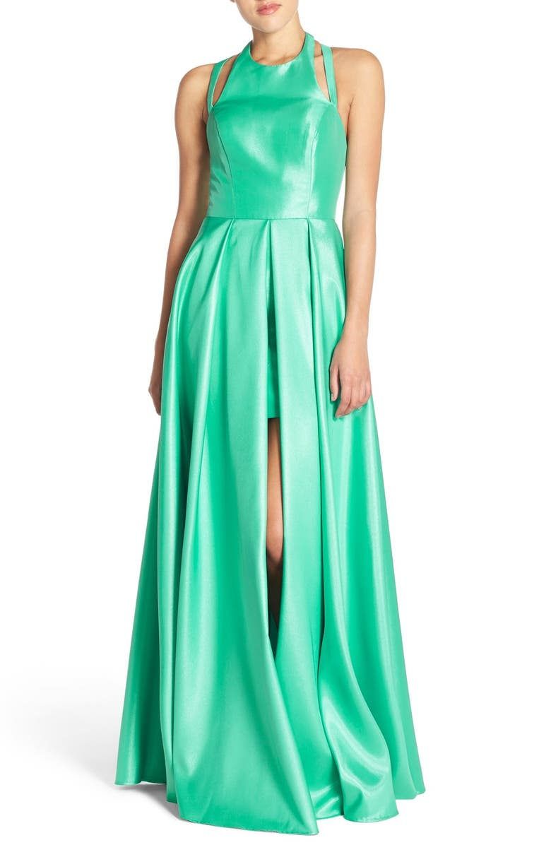 FAVIANA Shimmer Satin Halter Gown with Underskirt, Main, color, SPEARMINT