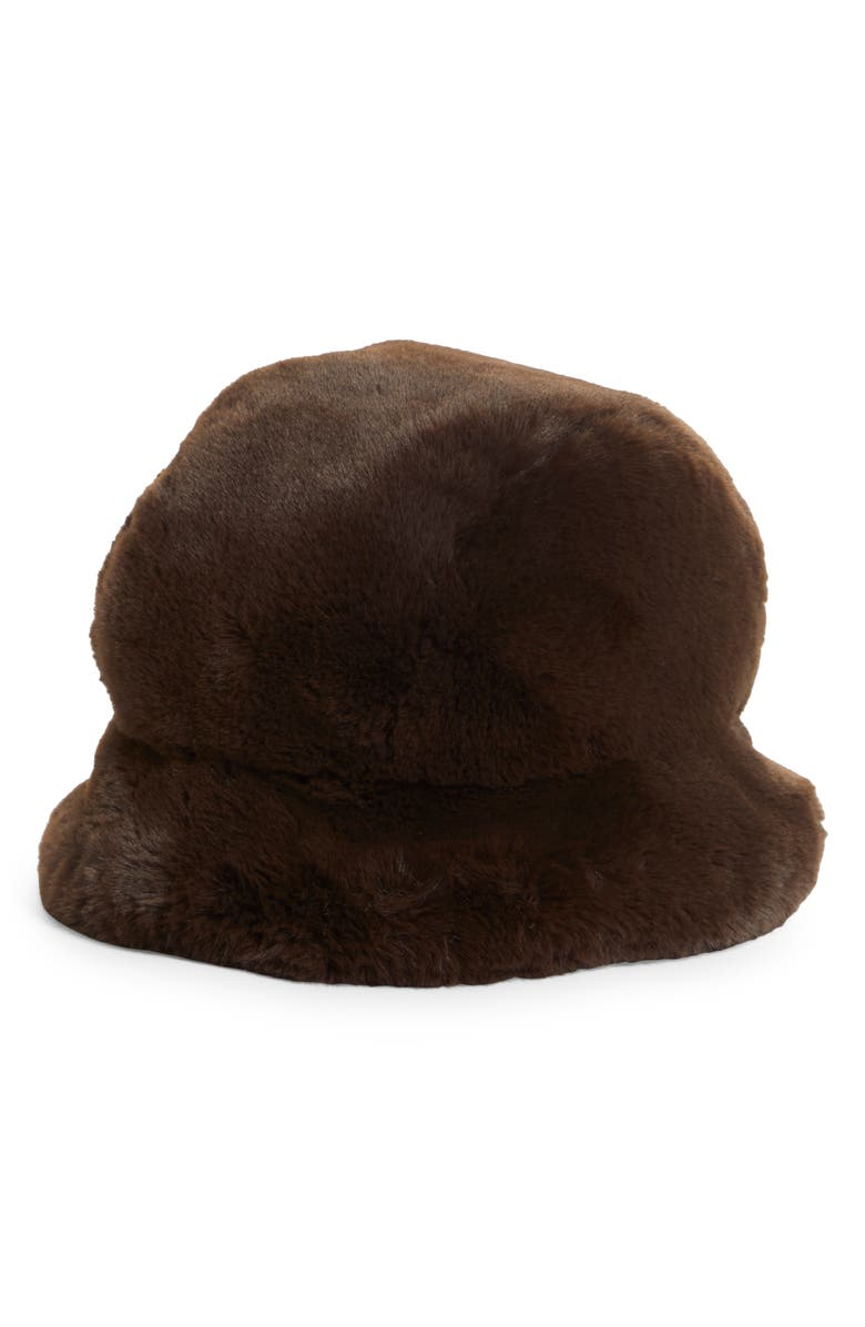 LIBERAL YOUTH MINISTRY Faux Fur Bucket Hat, Main, color, Brown