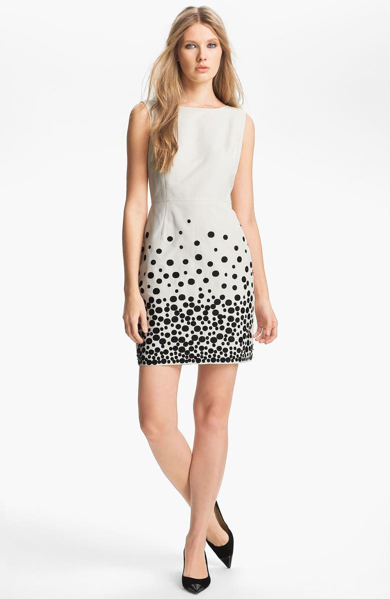 MISS WU Embroidered Faille Dress, Main, color, IVORY/ BLACK EMBROIDERY