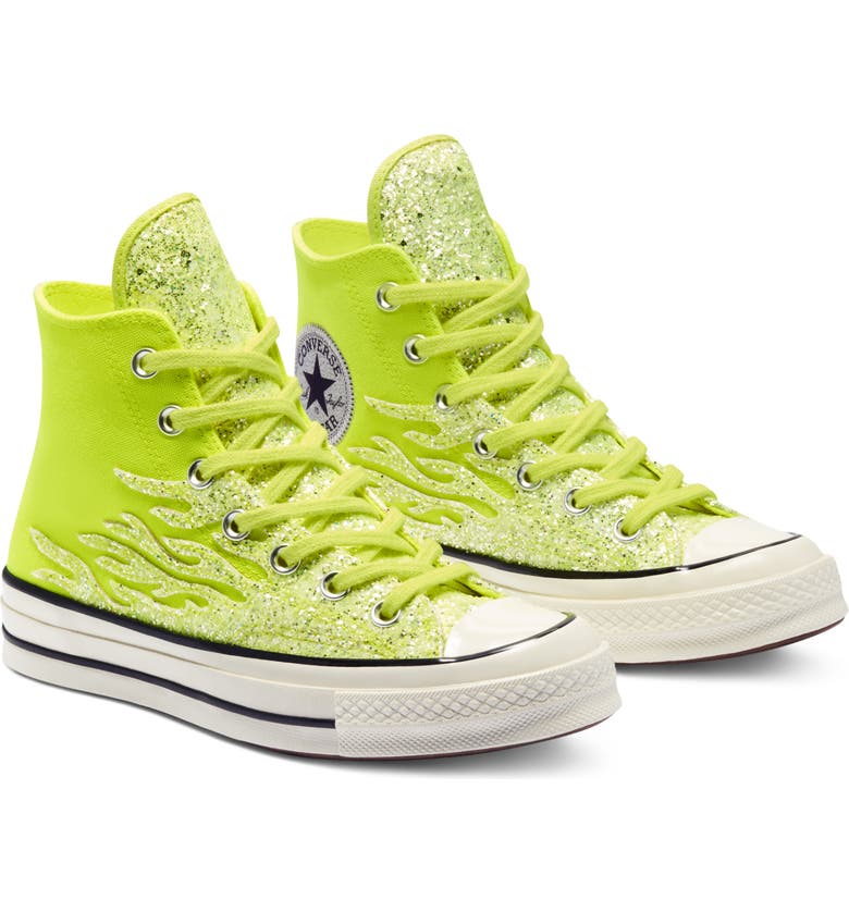 CONVERSE Chuck Taylor<sup>®</sup> All Star<sup>®</sup> 70 Archive Glitter High Top Sneaker, Main, color, LEMON VENOM/ EGRET/ BLACK