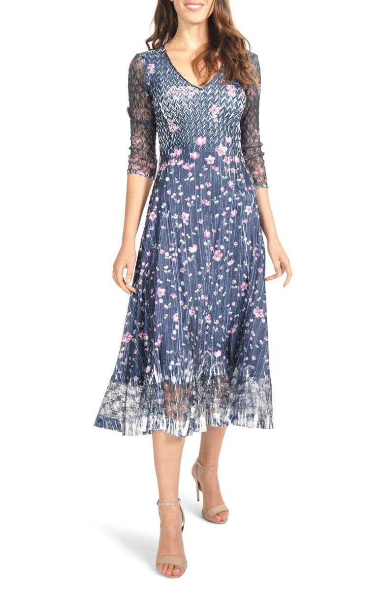 KOMAROV Charmeuse & Lace Midi Dress, Main, color, 402