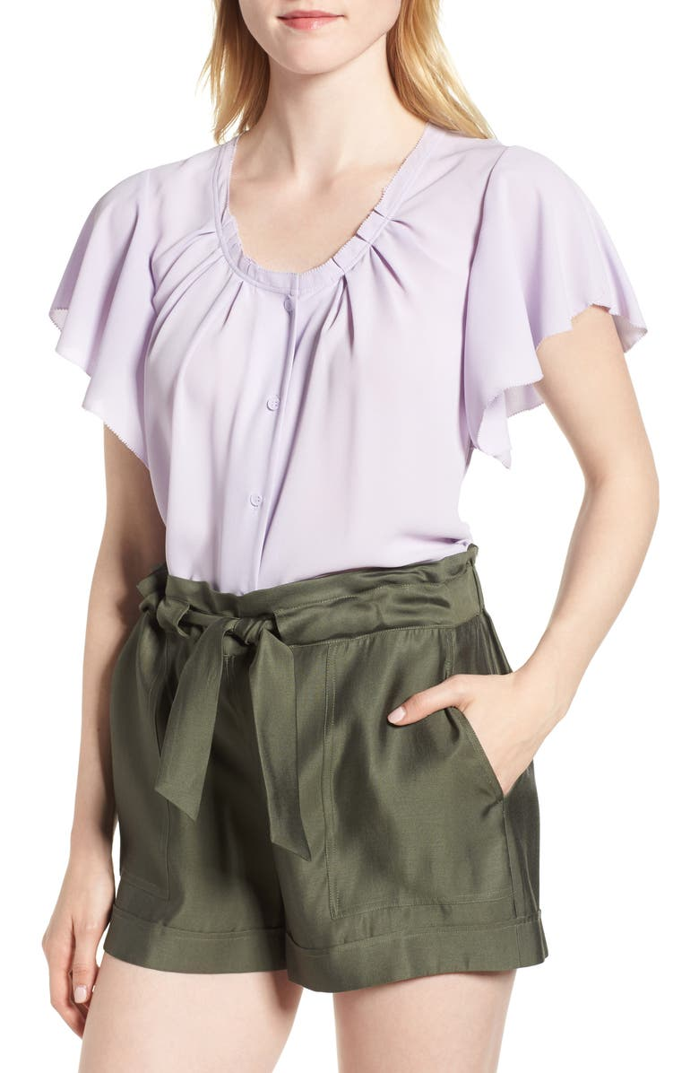 CHELSEA28 Pleated Flutter Sleeve Top, Main, color, 530