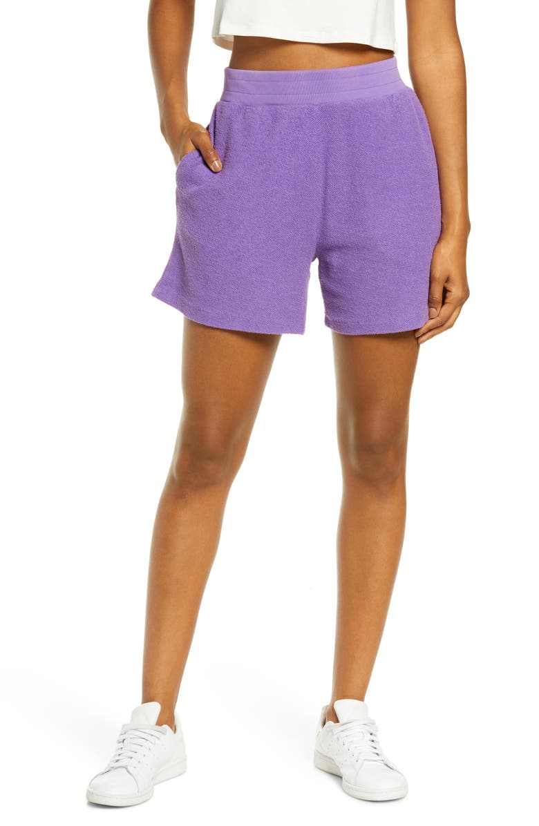 MELODY EHSANI Terry Cloth Shorts, Main, color, PURPLE