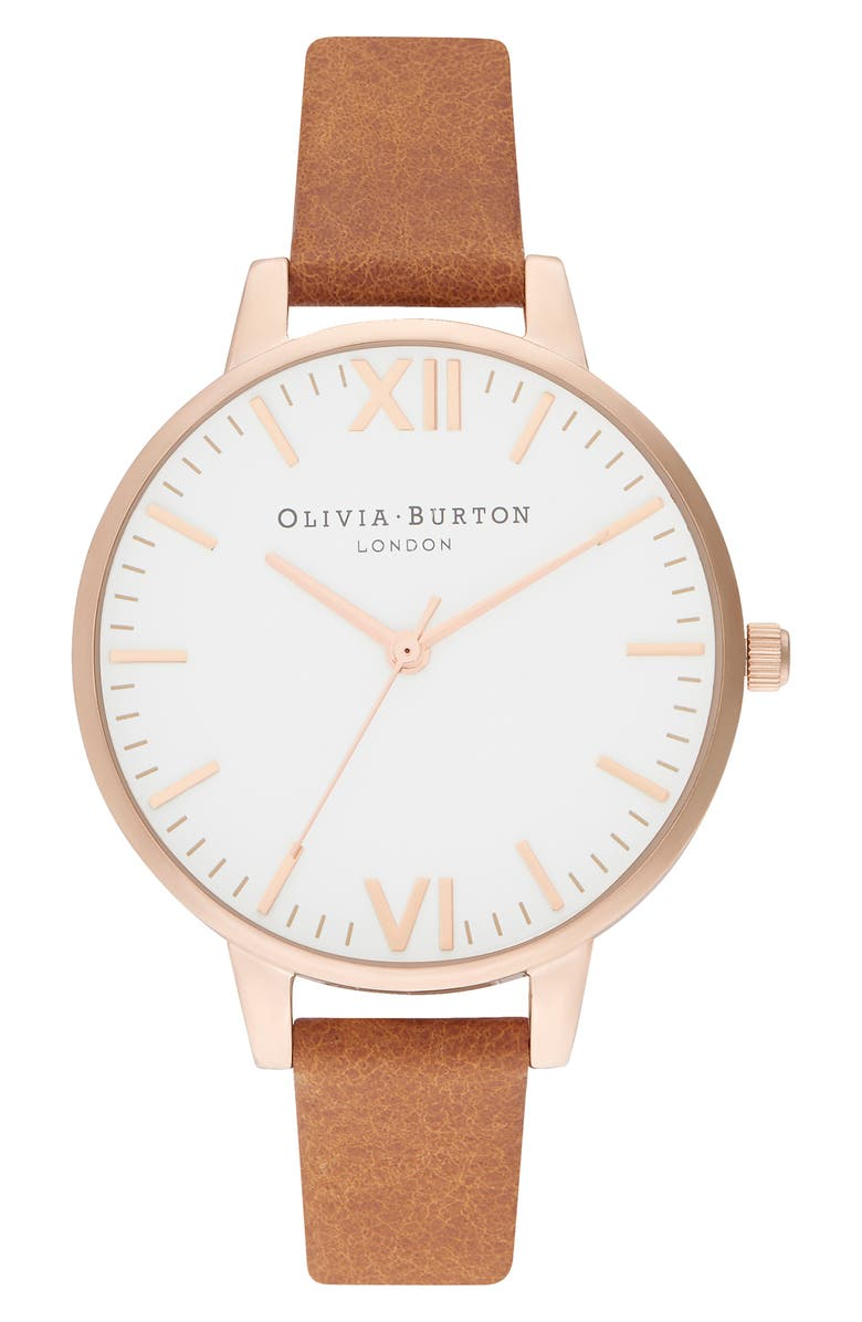 OLIVIA BURTON Timeless Leather Strap Watch, 34mm, Main, color, 200