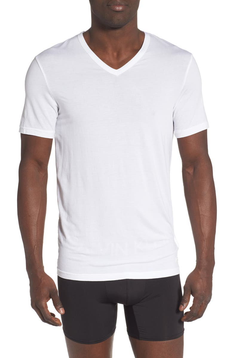 CALVIN KLEIN Ultrasoft Stretch Modal V-Neck T-Shirt, Main, color, WHITE