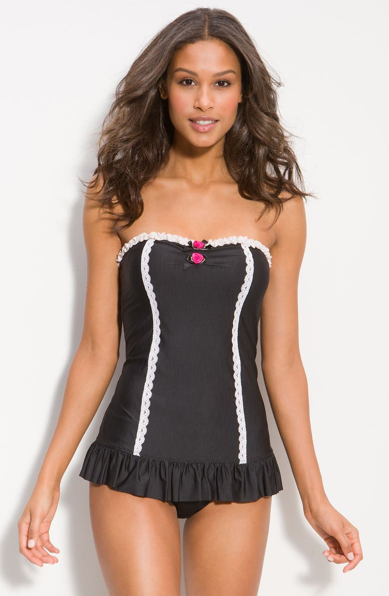 BETSEY JOHNSON 'Lace is More' One Piece Swimsuit, Main, color, 001