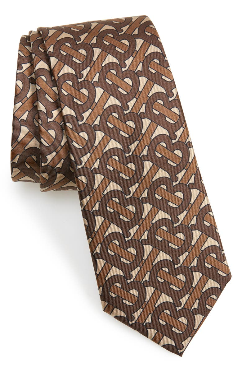 BURBERRY Manston Monogram Silk Tie, Main, color, 200