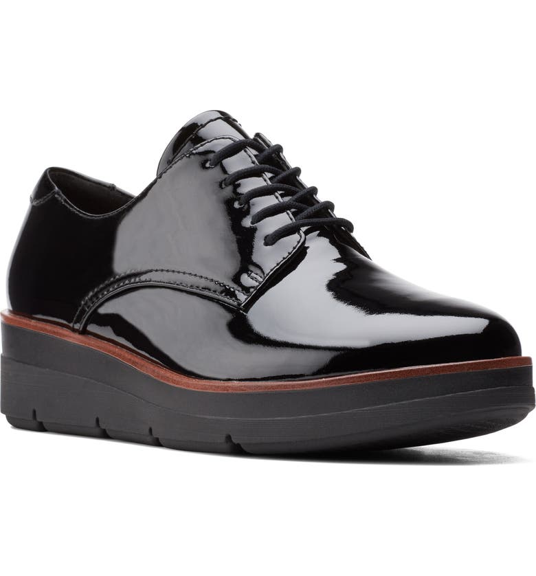 CLARKS<SUP>®</SUP> Shaylin Wedge Oxford, Main, color, BLACK PATENT LEATHER