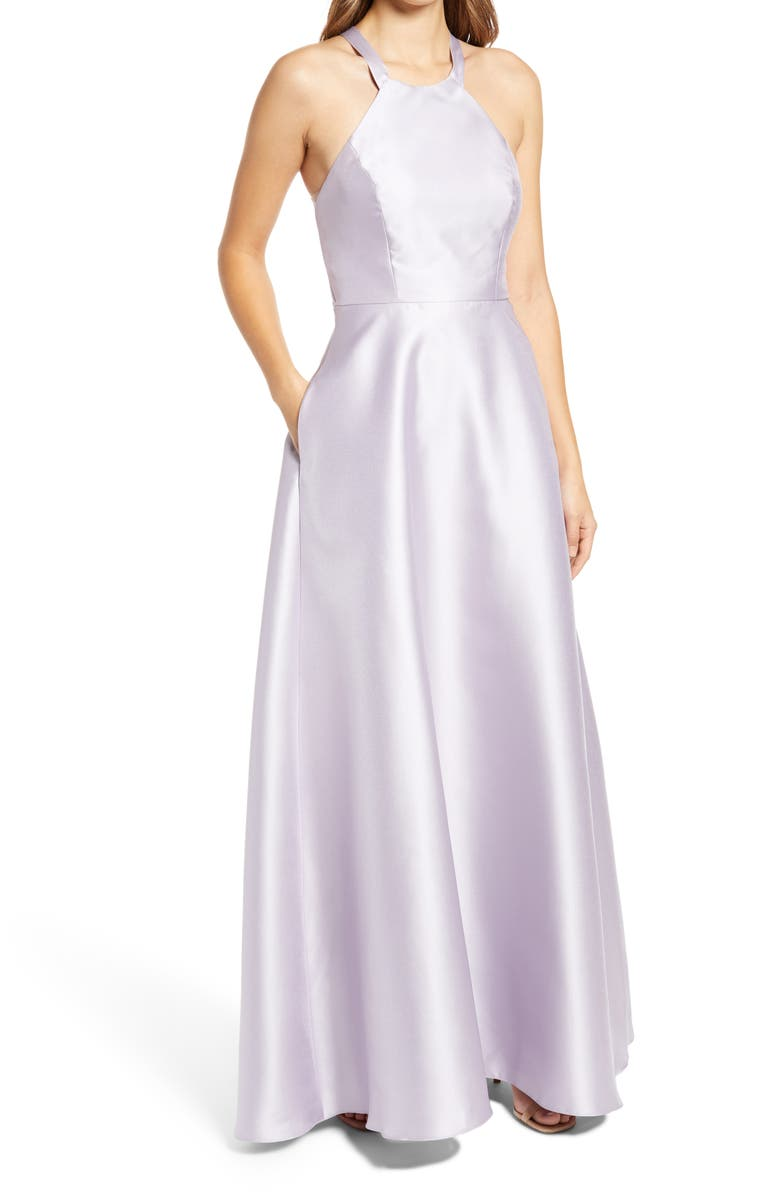 ALFRED SUNG Lace-Up Back Satin Twill A-Line Gown, Main, color, MOONDANCE