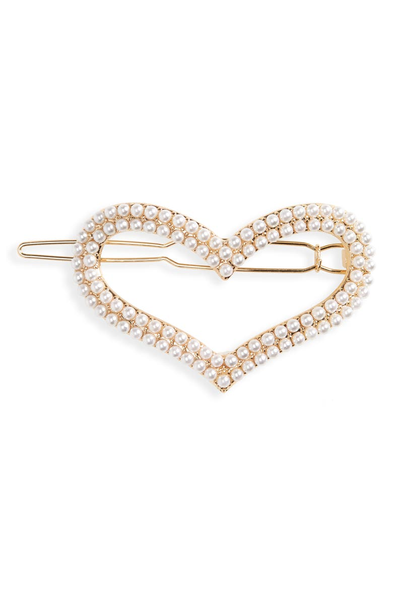 BP. Imitation Pearl Heart Hairpin Barrette, Main, color, 900